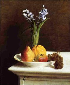 Still Life Hyacinths and Fruit - Henri Fantin-Latour