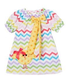 Wholesale - Easter Chick Chevron Cap Sleeve Shift Dress