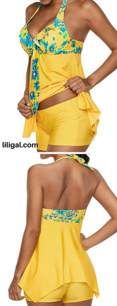 Open Back Printed Handkerchief Hem Tankini Set #liligal #swimwear #swimsuit