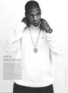 """Jay-Z, photographed for Vogue magazine by Norman Jean Roy in August Hov is wearing a Rocawear wool sweater and a gold Audemars Piguet """"Royal Oak Offshore"""" rubber clad luxury sports watch. Love N Hip Hop, Hip Hop And R&b, Hip Hop Rap, I Love Music, My Music, Music Flow, New School Hip Hop, Gangster, Rap God"""