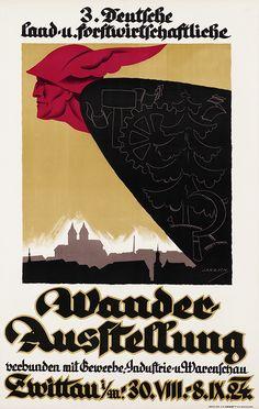 Deutsche land- & forstwirtschaftliche Wanderausstellung Zwittau 1924 verbunden mit Gewerbe-, Industrie- & Warenschau (Schönhengstgau - Svitavy) Entwurf Jakesch, Tschechoslowakei 1924