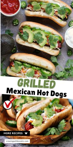 These hot dogs are grilled to perfection, then topped with jalapeno peppers, salsa, cheese, sour cream and avocados. This recipe is a real crowd pleaser!