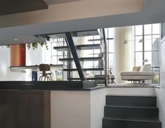 Cozy Dynamic House Design with the Modern Concept: Mezzanine Ceiling Window Floating Staircase Dynamic Duplex Interior ~ anahitafurniture.com House Design Inspiration