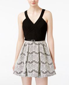 144c9ab7e Crystal Doll Juniors' Belted Contrast Lace Skater Dress & Reviews - Dresses  - Juniors - Macy's