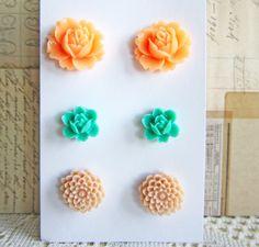 Floral Earrings Stud Post Earrings