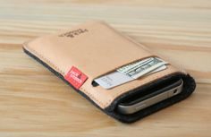 Pack and Smooch leather and felt iPhone case holds your phone, cards, and bills