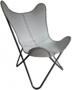 Vlinderstoel vintage wit leer frame zwart