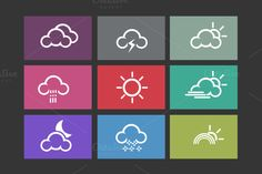 9 Flat Weather Icons by Creative VIP on Creative Market