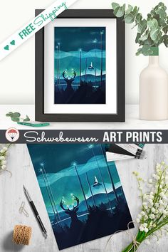 Glowing Reindeer Print Digital Prints Reindeer Silhouette Deer Art Print Enchanted Forest Wall Art Deer Stag Whimsical Animal Art Turquoise Painting Magical Wall Decor Blue Art dreamy artwork whimsical artwork gift for him A3 Print