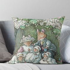 'Brambly Hedge - Poppy Dusty and babies' Throw Pillow by BramblyHedge Throw Pillows Bed, Bed Throws, Designer Throw Pillows, Floor Pillows, Decorative Throw Pillows, Dorm Shopping, Brambly Hedge, Hedges, Pillow Design
