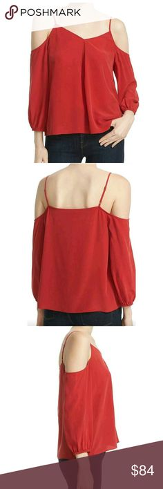 JOIE Silk Cold Shoulder Top Blouse Red Small You have great style! Joie Tops Blouses