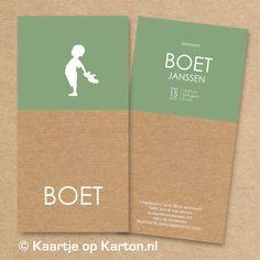 Geboortekaartje Boet silhouet op bruin kraft geribd karton - Kaartjes van Karton | geboortekaartjes, trouwkaarten zeefdruk
