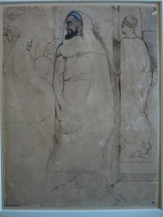 CHASSERIAU Théodore,1846 - Arabe barbu et autres Figures - drawing.