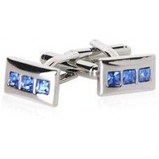 Linear Blue Crystal Cufflinks