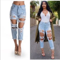 High rise cropped distressed jeans Trendy jeans with distressed look. In style and so chic with a pair of pumps and Crop top  juniors size 13, fit like a women's 10/11. Im a 12/14 and they're too small on me. New with tags. These don't have much of a stretch to them. Boutique Pants Ankle & Cropped