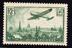 France  1936 - Airmail 50fr dark green Signed with certificate Roumet - Yvert Airmail n° 14b