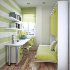 Bedroom , Best Paint Colors For Small Bedrooms : Green White Paint Striped Colors For Small Bedrooms Combined With Laminate Wood Flooring And Green Roman Shade For Window