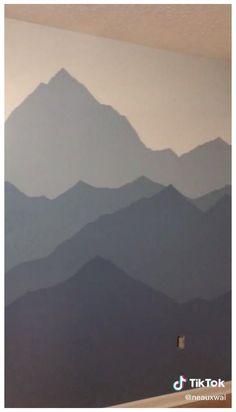 Mountain Bedroom, Mountain Mural, Bedroom Murals, Bedroom Wall, Diy Wall Painting, Mural Wall Art, Baby Boy Rooms, Baby Room Decor, Room Paint