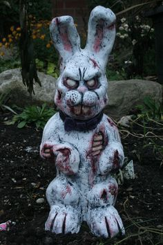 Peter Rotten Tail The Easter Zombunny. RevenantFX etsy.nfect your household today! These mythical walking corpses are sculpted meticulously in water/oil clay, casted in rock solid premium grade gypsum cement, hand-painted to bring out all of their ghoulish detail no two are exactly the same. Lastly, they are each coated in a high gloss outdoor sealer to prevent any further decay and to help these carnivorous cadavers withstand the elements in their continuous hunt for human flesh.