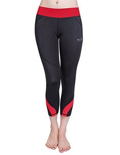 Baleaf Womens Workout Running Capri Leggings Red Size L >>> You can get additional details at the image link.