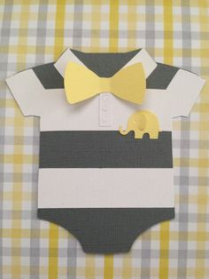 25 Boys Onesie Yellow Bow with Grey Stripes and baby Elephant shower invites - birth announcement - baby shower on Etsy, $99.00