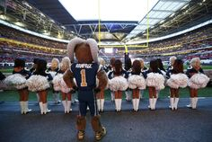 Rampage and the Rams Cheerleaders at Wembley Field in London, England!