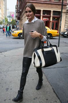 leather and knit - from musings in femininity.