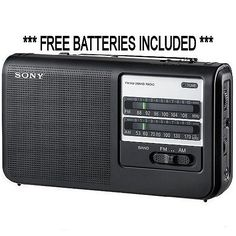 Sony ICF-38 Portable AM/FM 2 Band Radio with Free AA Batteries