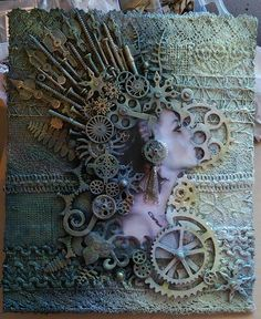 Steampunk and found objexts. Steampunk and found objexts. Steampunk Artwork, Steampunk Crafts, Steampunk Design, Steampunk Book, Altered Canvas, Altered Art, Mixed Media Canvas, Mixed Media Collage, Mixed Media Artwork