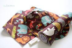 baby organic original bib/scarf bib/burp cloth set-Dan Stiles for Birch Fabrics Organic, Safari Soiree