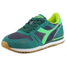 Diadora Diadora Titan Ii W Round Toe Synthetic Sneakers (190 RON) ❤ liked on Polyvore featuring shoes, sneakers, green, diadora, green shoes, synthetic shoes, faux shoes and grip shoes