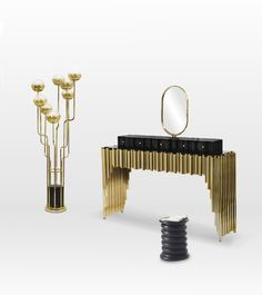 So clever from Maison Valentina. The 'Symphony' dressing table was inspired by music. And you can see why. This and other new designs in a gold +black mood boards now featured on Don't Call Me Penny http://dontcallmepenny.com.au/luxury-bathroom-decor/ #interiors #interiordesigner #bathroom #styledesignwriter