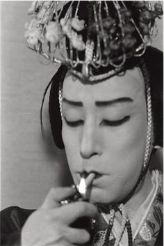 Candid photograph of a Japnese Noh performer. Photographed by Isamu Noguchi, ca. 1950's. Courtesy of The Noguchi Museum Archive. S)