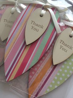 Tall decoupage hearts with thank you message engraved. In a range of pastel colours and a range of designs.