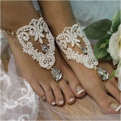 Say your vows on the beach wearing our romantic gold rhinestone ivory lace handmade barefoot sandals! Our gorgeous lace and crystal drop barefoot sandals are perfect for your romantic beach wedding. Barefoot Wedding, Beach Wedding Sandals, Barefoot Beach, Bridal Shoes, Wedding Shoes, Wedding Jewelry, Lace Jewelry, Dream Wedding, Gold Rhinestone