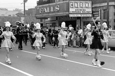 Cuyahoga Falls High School Marching Band 1963 in front of the Falls Theatre on Front street