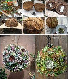 #ヤシマット #  Succulent Kissing Ball #ガーデニング #gardening(Via:  DIY Succulent Kissing Ball  )おぉ!ヤシマットをこう使えばボール状にできるな!