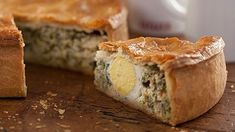 Learn how to make Paul Hollywood's spinach and egg pie including how to make your own pastry. Delicious hot and even better cold, each slice of the pie has half an egg inside!
