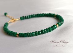 Genuine emerald bracelet, gold filled emerald bracelet, green bracelet, gift for her