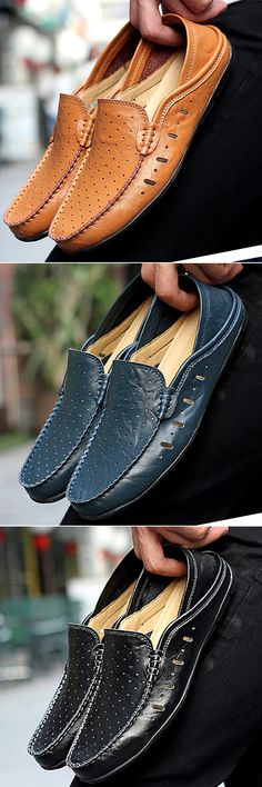 US$31.74 Men Hole Breathable Two Ways Wearing Doug Shoes Casual Driving Loafers#shoes #style #news