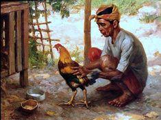 Old Man with cockerel by Fernando Amorsolo.