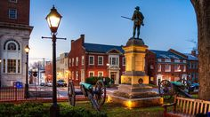 Court Square at Nightfall (Credit: Charlottesville Albemarle Convention & Visitors Bureau)