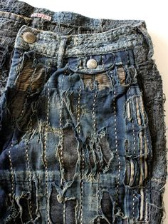 kapital denim - such amazing techniques applied to their denim pieces of art.each one is unique Patchwork Jeans, Denim Fabric, Shibori, Denim Art, Visible Mending, Japanese Textiles, Recycled Fashion, Hand Embroidery Patterns, Sew On Patches