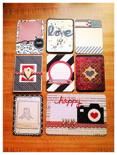 Handmade Journals Handmade journaling cards for Project Life 'Valentines' Project Life Scrapbook, Project Life Album, Project Life Layouts, Project Life Cards, Pocket Pal, Pocket Cards, Tarjetas Diy, Pocket Page Scrapbooking, Decoupage