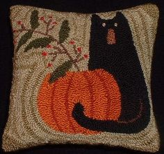 needle punch black cat primitive pillow