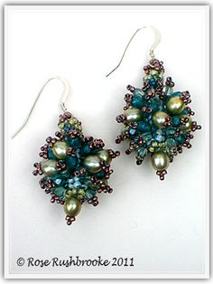 Teal and copper earring - design by Laura McCabe  #beadwork