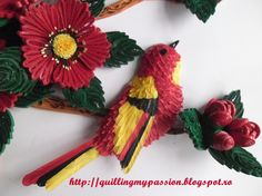 quilled bird and flowers