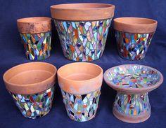Mosaic Pots & Bird Bath by BleuArts, via Flickr