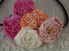 Pink Orange Off White Rolled Roses Flowers Elastic by MarasFabric,