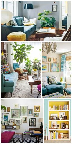 Inspiration. Eclectic, modern, vintage, colorful living rooms.